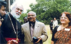 Arijeet and Kanchan Roy with the Archbishop of Canterbury 7 July, 2004